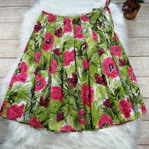 Talbots Floral Pleated Skirt Size 4